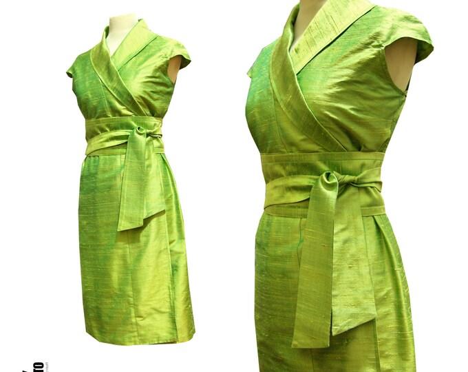 Green silk wrap dress in kimono style