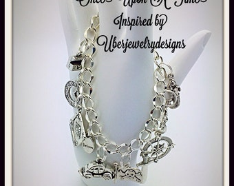 Once Upon a Time Emma and Hook Inspired Charm Bracelet by Uberjewelrydesigns