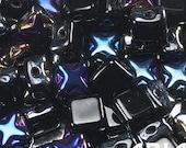 JET AZURO: 6x6mm Two-Hole Diamond Czech Glass Silky Cross Beads (50 beads)