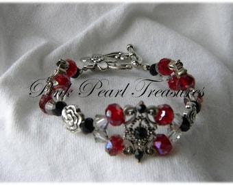 Red Weave beaded bracelet