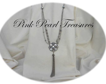 Cystal Silver Pendant necklace