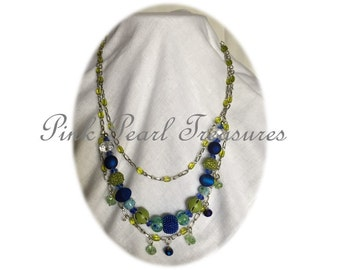 Aqua Springs Blue multi strand necklace