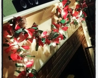 Fabric Garland/ Lighted Fabric Christmas Garland/Garland for Mantel/All Seasons Garland/Staircase Garland