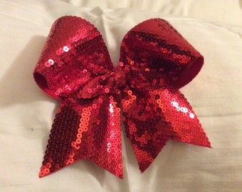 Red Sequin Cheer Bow