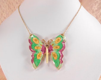Butterfly Necklace Pink and Green