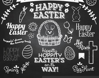 Easter Chalkboard Clipart - Digital Clip Art Graphics