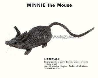 Vintage Toy Knitting Minnie Mouse Pattern PDF 541 from WonkyZebra