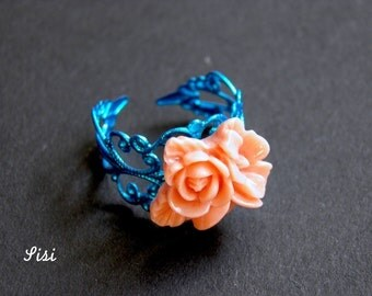 Blue rose flower filigree ring