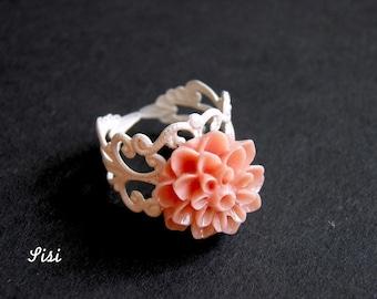 White stamp rose flower ring