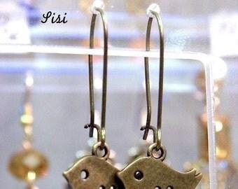 Earrings bronze metal bird