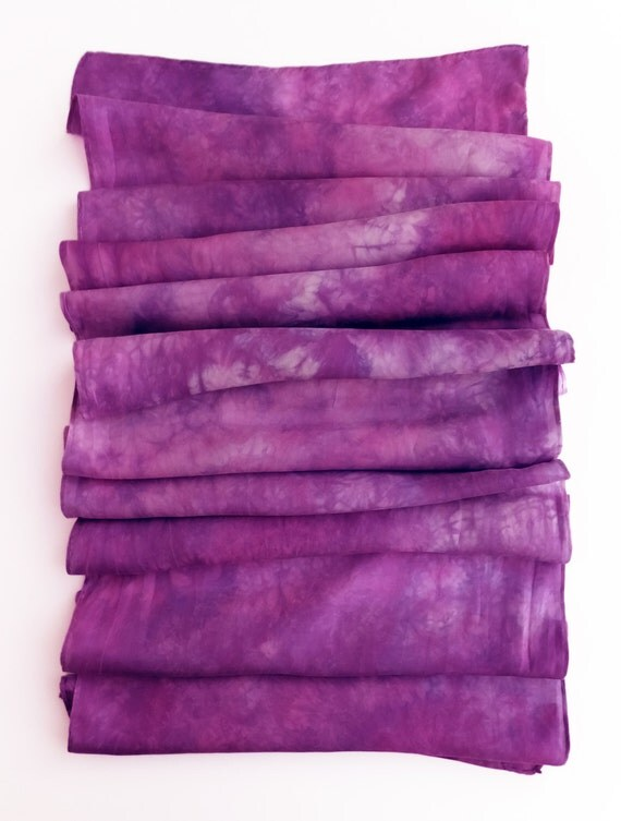 "Purple silk scarf - china silk - plum, purple, magenta- hand dyed - 13"" x 68"""