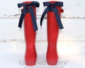 Personalized, Red, Rain Boots, Navy, Bows, Monogram