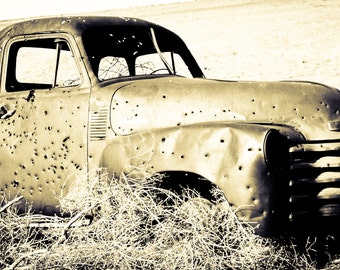 Rustic Photography, Chevy Truck, rusty pick up, vintage truck, abandoned truck, tumbleweeds, rustic, bronze, black and white, Gifts for Men
