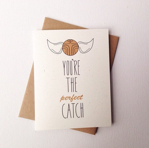 Sweet Valentine's Day Card. You're The Perfect Catch! Nerd Humor etsy