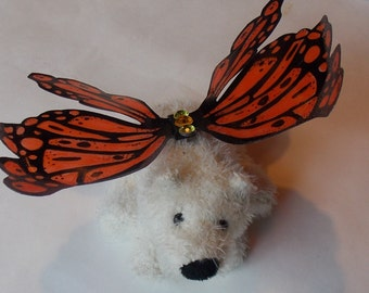 Doll size fairy wings in Orange and Black, Monarch Butterfly Wings for Dolls or Stuffed Animals