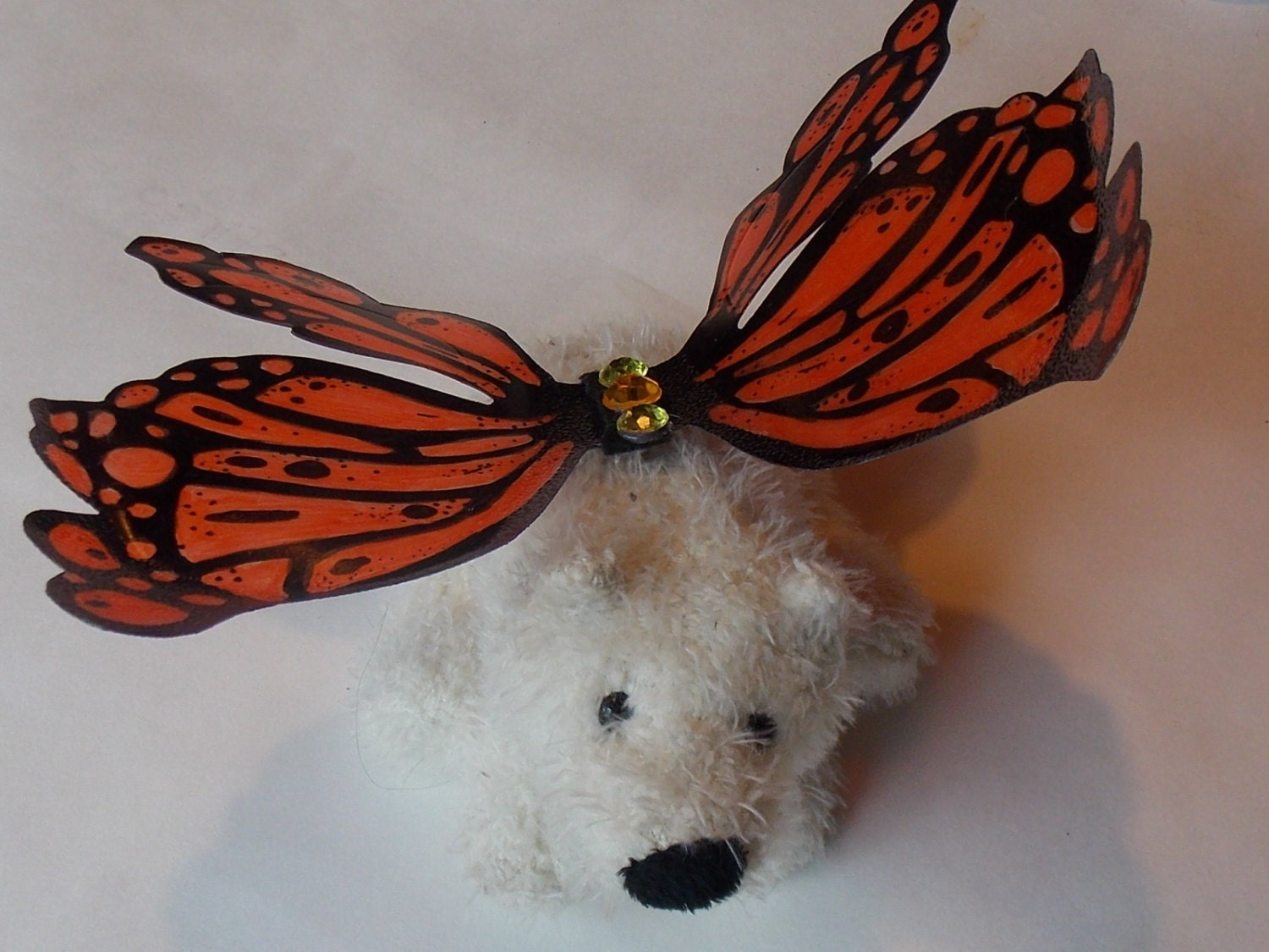 Doll size fairy wings in Orange and Black Monarch Butterfly