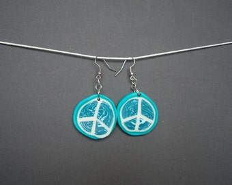 Peace sign earrings Green earrings mint earrings White earrings Polymer clay earrings Round earrings Dangle earrings Boho Hippie earrings
