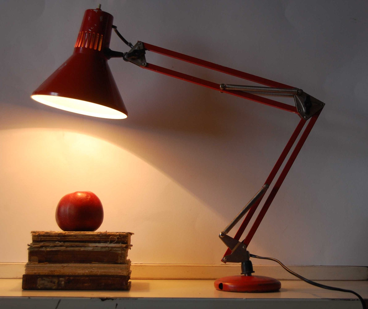 Vintage Red Desk Lamp Industrial Task Lighting By TallinnVintage