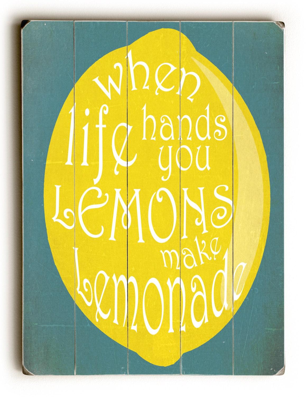 wooden sign make lemonade kitchen decor inspirational sign