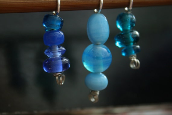 Handmade Stitch Markers in Blue SALE!!!!!