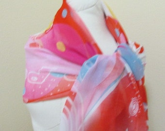 SALE - Painted Silk Scarf