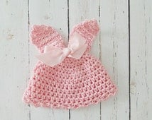 Pink Crocheted Bunny Hat from Soft Cotton with Light Pink Bow, 0 - 36 months, Cute Birthday or Baby Shower Gift, Nice Easter Photo Prop Idea