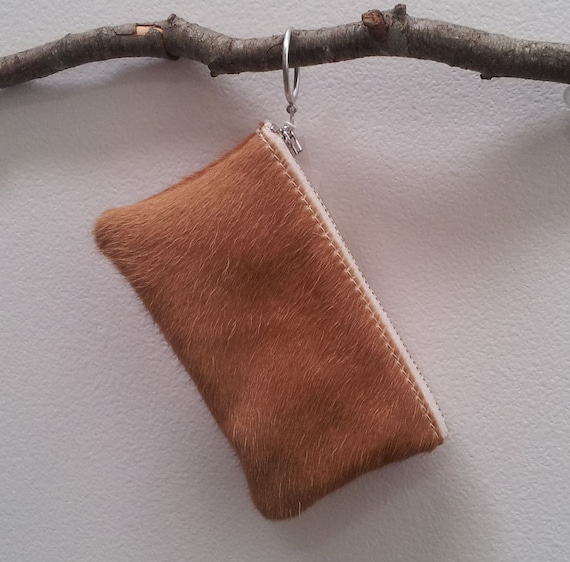 cowhide purse - hand dyed cow hide pouches in grey, yellow, pink and nautral white and tan