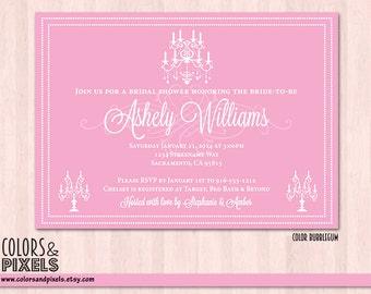 Vintage Bridal Shower Invitation, Wedding Invitation, Bachelorette Invitation, Bachelorette Invitation, Printable Bridal Invite, Chandelier