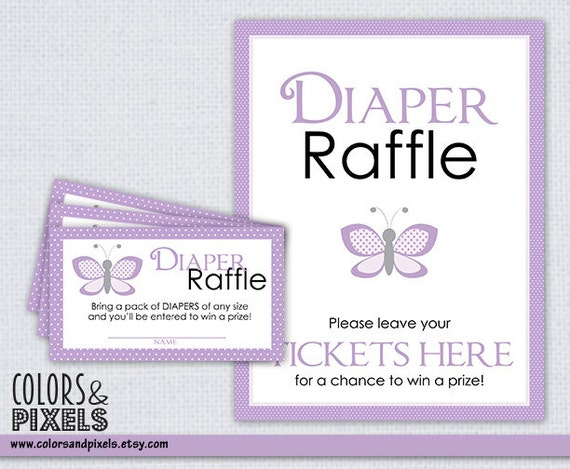 ... Printable Diaper Raffle Tickets, Butterfly Baby Shower Printable, Baby