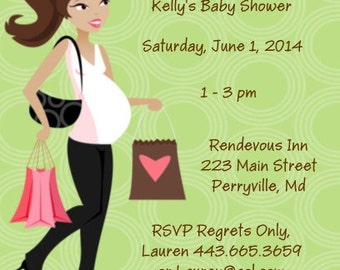 20 Personalized Mod Mom Baby Shower Invitations Envelopes Included