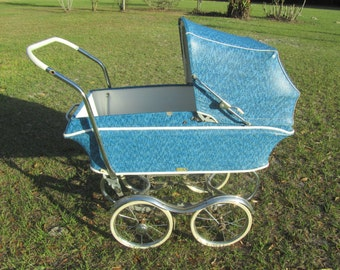 Mid century Baby Carriage, Baby Buggy, Photo Prop, blue, stroller,