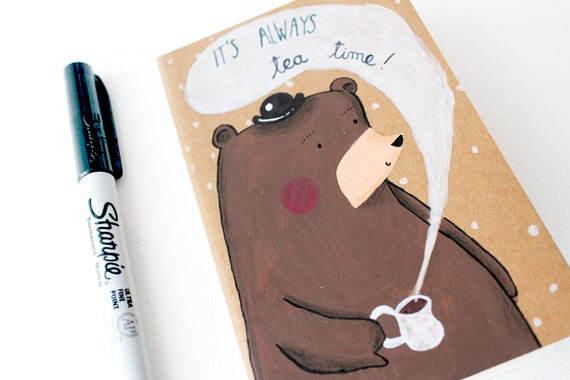 It's always tea time illustrated Moleskine with a bear with a bowler hat drinking tea