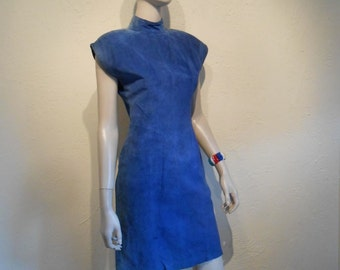 Gag Me With A Spoon - 1980s Valley Girl Blue Suede Wiggle Dress w/Large Back KeyHole -  9
