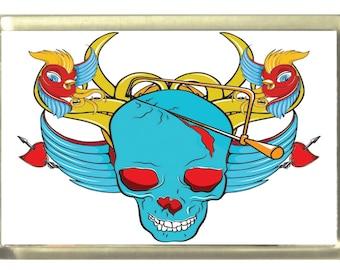 Bird Skull, Emo Fridge Magnet 7cm by 4.5cm