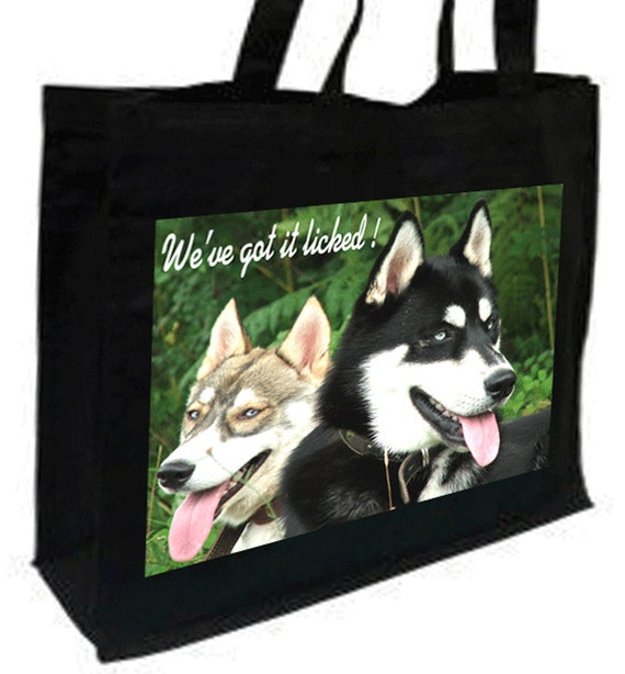Husky Dogs Cotton Shopping Bag with gusset and long handles, 3 colour options