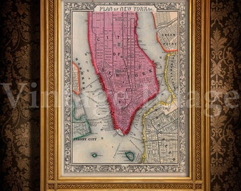 """Old Map of New York City, 1860 Antique Restoration Hardware Style NYC MAP sizes up to 43"""" x 54"""" Old New York map Wall art Fine print"""