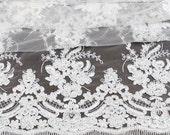 White Wedding Lace Embroidery Fabric With Crystal Beads and Scallop Cord - Imelda - 1 Yard Style 2504