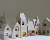 English village Pottery and ceramics   Tiny village of 6 ceramic cottages. British architecture house warming gift Birthday present.