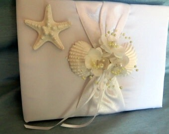 Beach wedding guest book_white shell and starfish guest book_beach home guest book