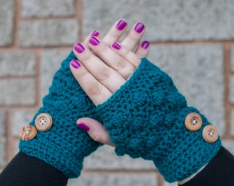 Button Bobble Fingerless Gloves