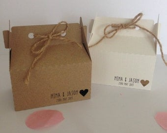 Wedding Favour Box Personalised Small Gable (Kraft Card) (5) *Other colours available on request*