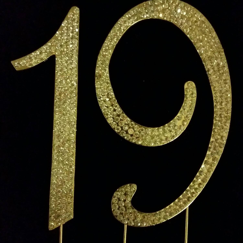 Monogram rhinestone cake topper number 19 in gold color