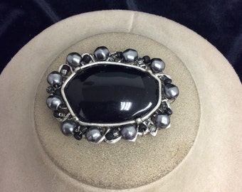 Vintage Black & Faux Gray Pearl Pin