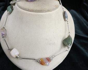 Vintage Multi Colored Stone Necklace