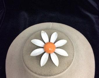 Vintage Enameled Metal Floral Pin