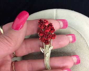 Vintage Signed DM 97 3-D Red Enameled Rose Pin