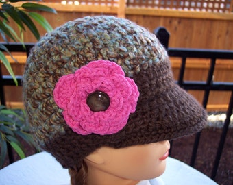 Girls Crocheted Newsboy Hat