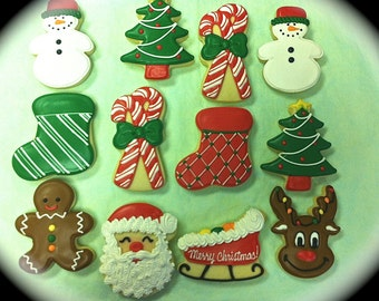 Christmas Cookies, Holiday Cookies, Christmas Party Favor Cookies, Decorated Christmas Cookies, Santa Cookies, Reindeer Cookies