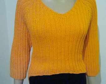 Orange Ribbon yarn cotton pullover