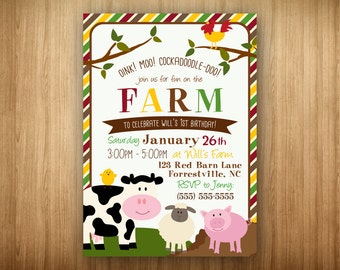 Farm Barnyard Birthday PRINTABLE Invitation Cow Pig Rooster Lamb Chick Any Age Any Color